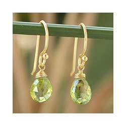 Gold Overlay 'Sublime Elegance' Peridot Earrings (Thailand)