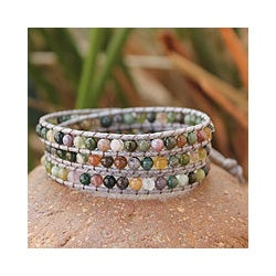 Jasper Wrap Bracelet 'Rainforest Majesty' (Thailand)