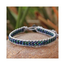 Azurite-malachite 'Lotus Pond' Beaded Wristband Bracelet (Thailand)