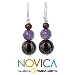 Sterling Silver 'Sweet Love' Garnet and Amethyst Earrings (Thailand)