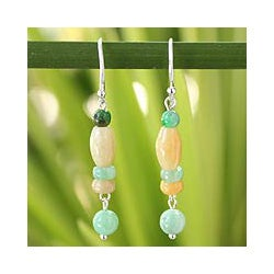 Sterling Silver 'Nature's Touch' Jade Earrings (Thailand)