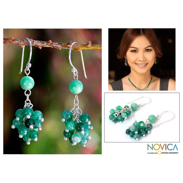 Sterling Silver 'Abundance' Jade Earrings (Thailand)