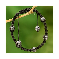 Hematite 'Jaipur Night' Macrame Bracelet (India)
