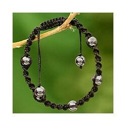 Hematite 'Jaipur Night' Macrame Bracelet (India)