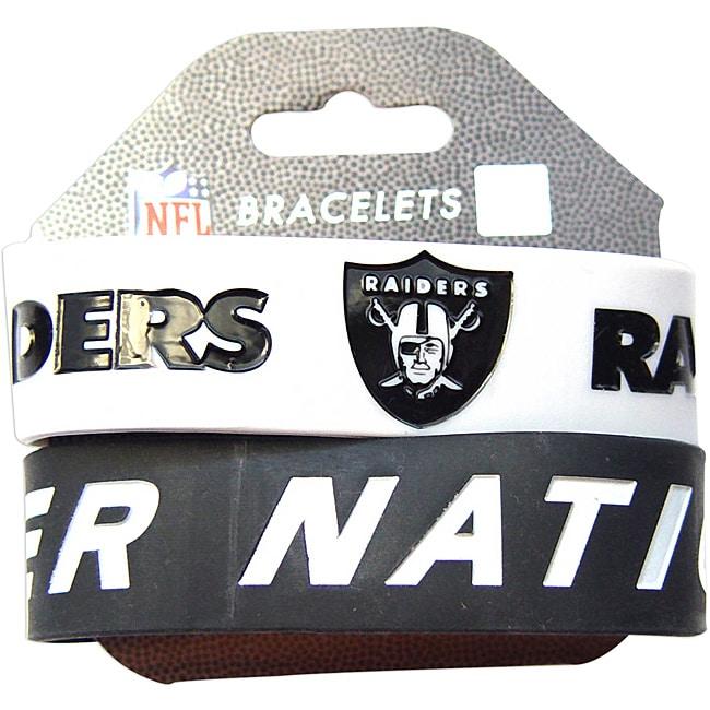 Aminco Oakland Raiders Rubber Wristbands (Set of 2)