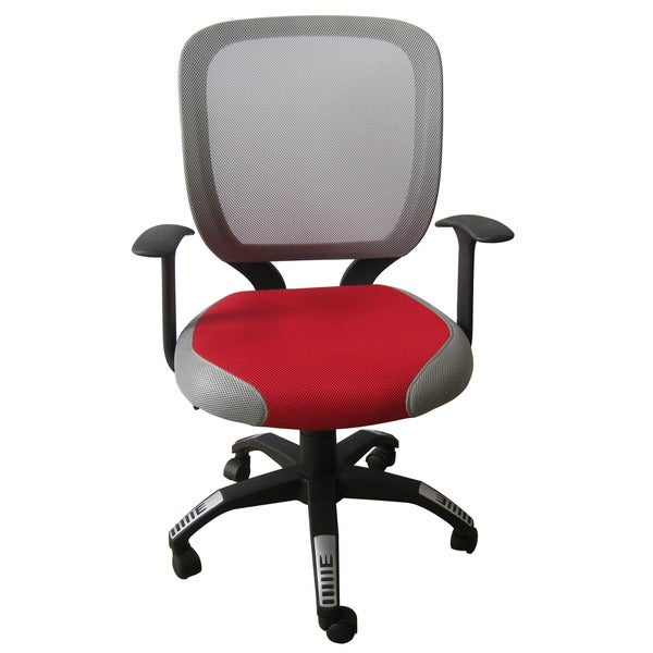 Foust Contemporary Red/ Grey Mesh Task Chair