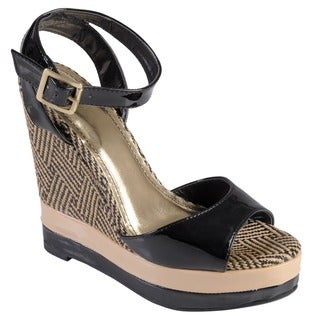Journee Collection Women's 'Energy' Patent Open Toe Ankle Strap Wedge