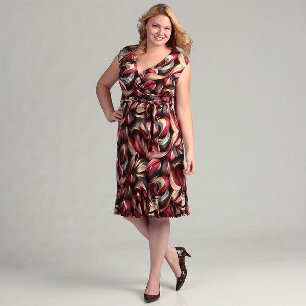 Glamour Women's Grey/ Cranberry Faux Wrap Dress