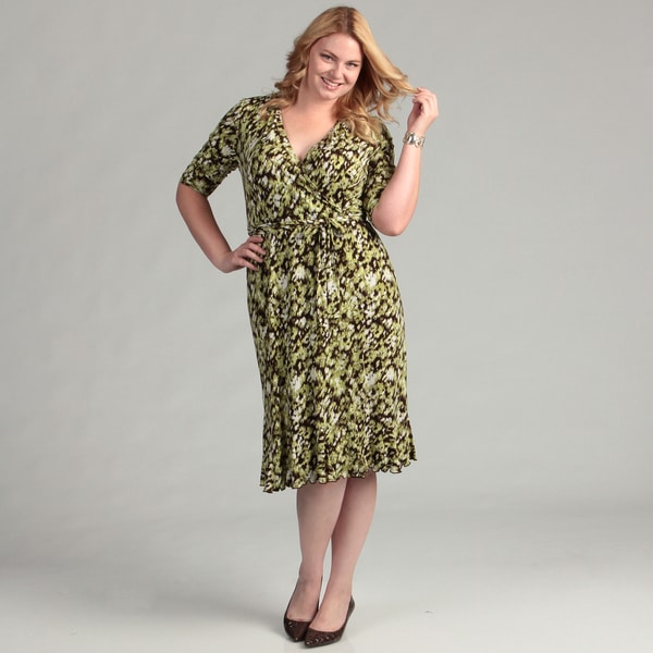 Glamour Women's Plus Size Avacado/ Brown Dress
