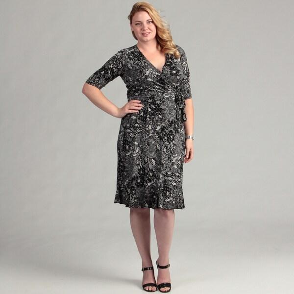 Glamour Women's Black/ White Faux Wrap Dress