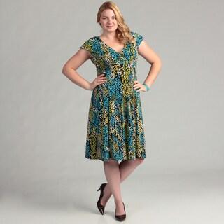 Glamour Women's Brown/ Turquoise Geometric Dress