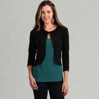 Glamour Women's Black Jersey Knit Shrug