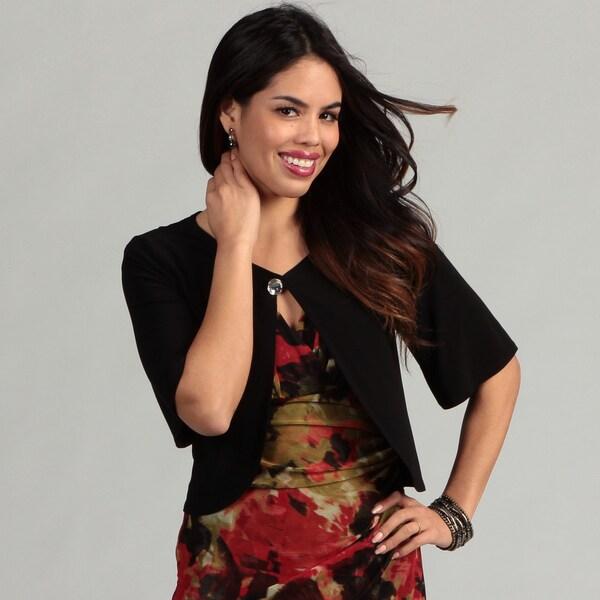 Glamour Women's Black Short-sleeve Button Shrug