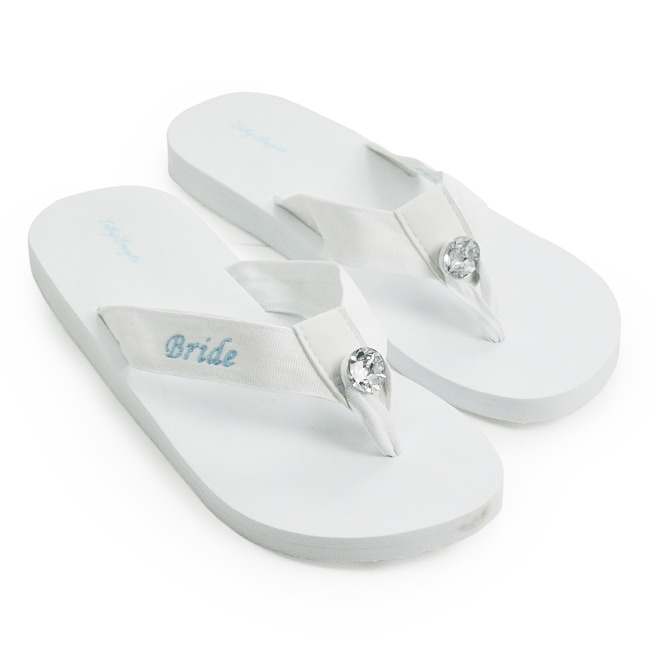 Overstock.com 'Bride' White Wedding Flip-flops