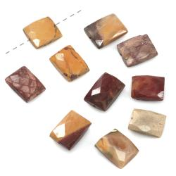 Beadaholique Mookaite Faceted Rectangle Gemstone Beads 8-15mm (Set of 10)