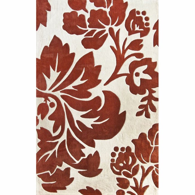nuLOOM Handmade Pino Rust Floral Fantasy Rug (6' x 9')