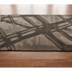 nuLOOM Handmade Pino Ice Glacier Pattern Charcoal/ Grey Rug (8'3 x 11')