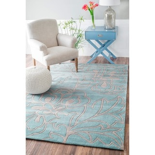 nuLOOM Handmade Pino Floral Blue/ Grey Rug (6' x 9')