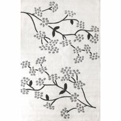 nuLOOM Handmade Pino Spring Season White Floral Rug (6' x 9')