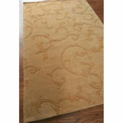 nuLOOM Handmade Pino Scroll Vines Gold Rug (6' x 9')