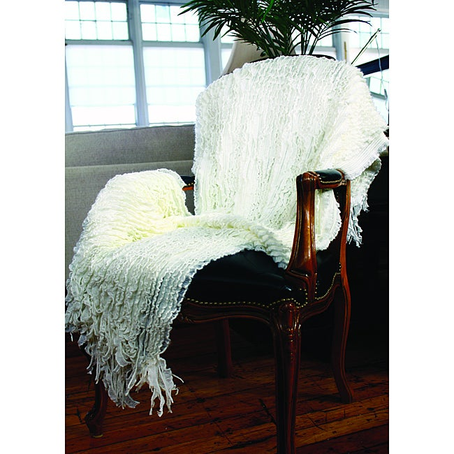 Charlotte Acrylic Knitted Ruffle Throw