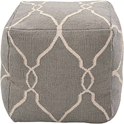 Decorative Arabesque Grey Pouf