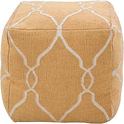 Decorative Arabesque Yellow Pouf