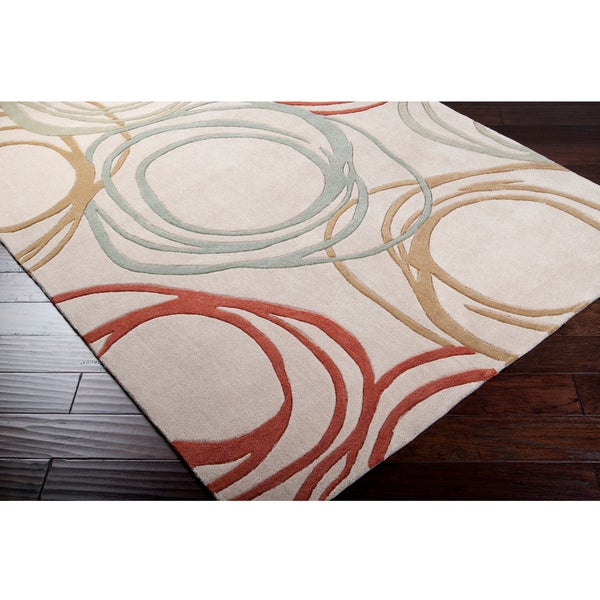 Hand-tufted Contemporary Green Zambia Geometric Circles Rug (5' x 7'6)