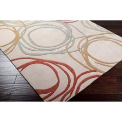 Hand-tufted Contemporary Ivory Zambia Geometric Circles Rug (8' x 10')