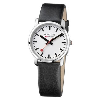 Mondaine Women's 'Simply Elegant' Stainless Steel White Dial Watch