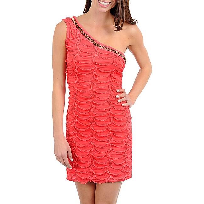 Stanzino Women's Pink One-shoulder Textured Dress