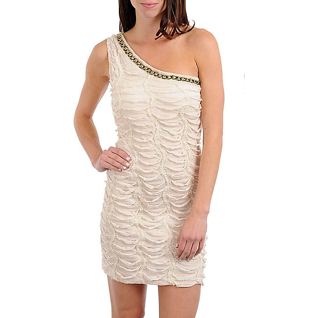 Stanzino Women's Cream Beaded Textured One-shoulder Dress