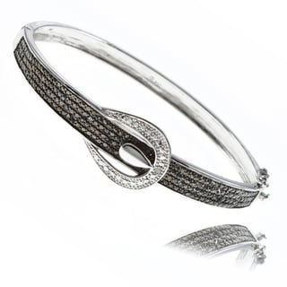 Finesque Fusion Silver Overlay 1/4ct TDW Black and White Diamond Bracelet (I-J, I2-I3)