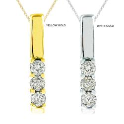10k Gold 1/5ct TDW Diamond 3-stone Necklace (G-H, SI1-SI2)