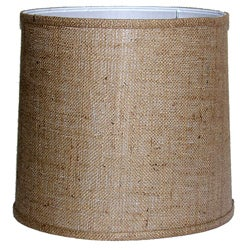 Medium-Brown Burlap-Drum Indoor Lamp Shade