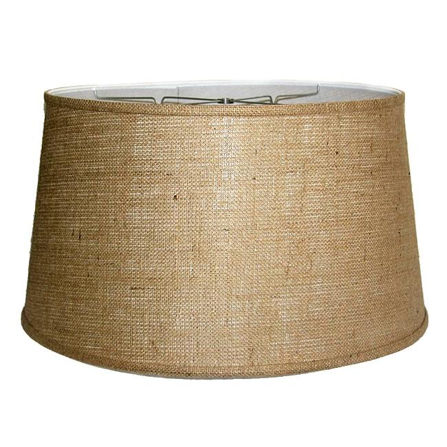 Medium Brown Burlap Drum Lamp Shade
