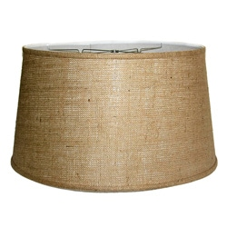 Medium Brown Burlap Drum Lamp Shade