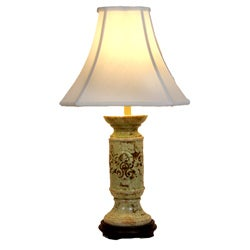 Distressed Beige with Green Wash Transitional Table Lamp