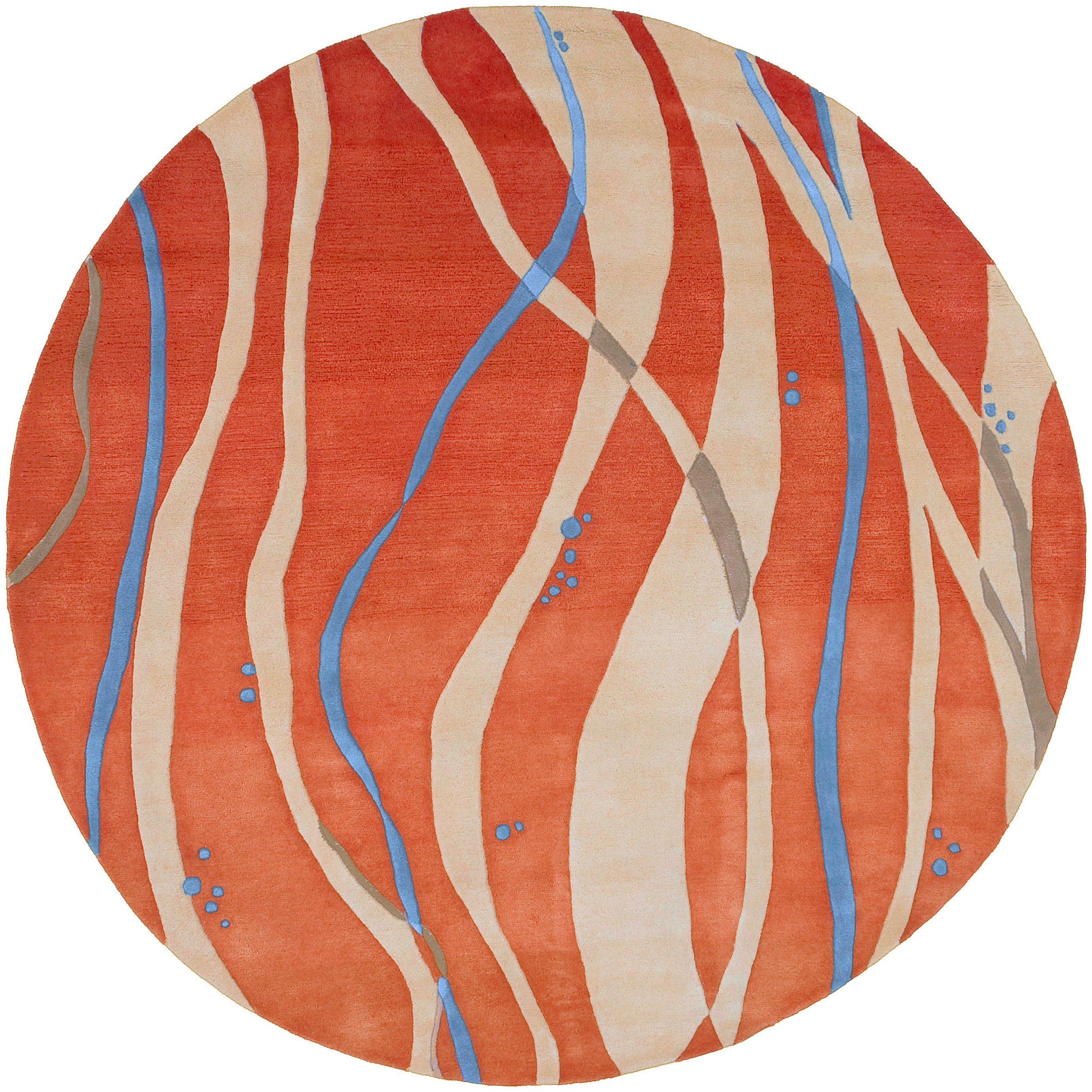 Hand-tufted Orange Contemporary Maputo New Zealand Wool Abstract Rug (8' Round)