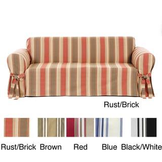 Classic Stripe Cotton Loveseat Slipcover