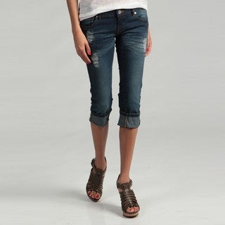 Blues Society Junior's Emroidered Capri Jeans