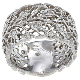 14k White Gold 7/8ct TDW Diamond Vine Theme Estate Ring (J-K, SI1-SI2)
