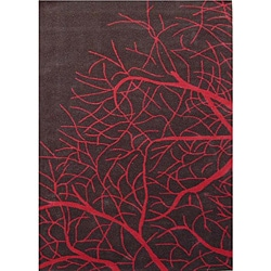 Red Tree Hand Tufted Wool Rug (5' x 8')
