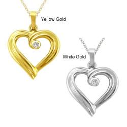 10k Gold Diamond Accent Ribbon Heart Necklace