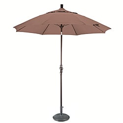 Straw Fiberglass 9-foot Umbrella with Collar Tilt and 50-pound Stand