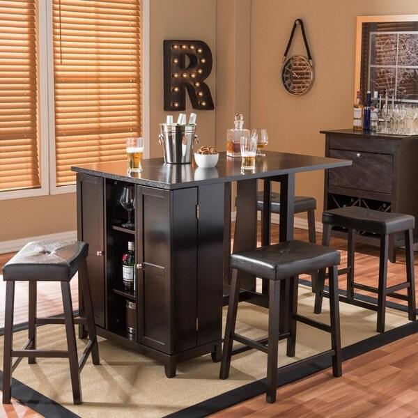 Baxton Studio Aurora 5-piece Dark Brown Modern Pub Table Set with Cabinet Base