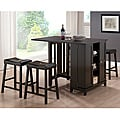 Aurora 5-Piece Dark Brown Modern Pub Table Set with Cabinet Base