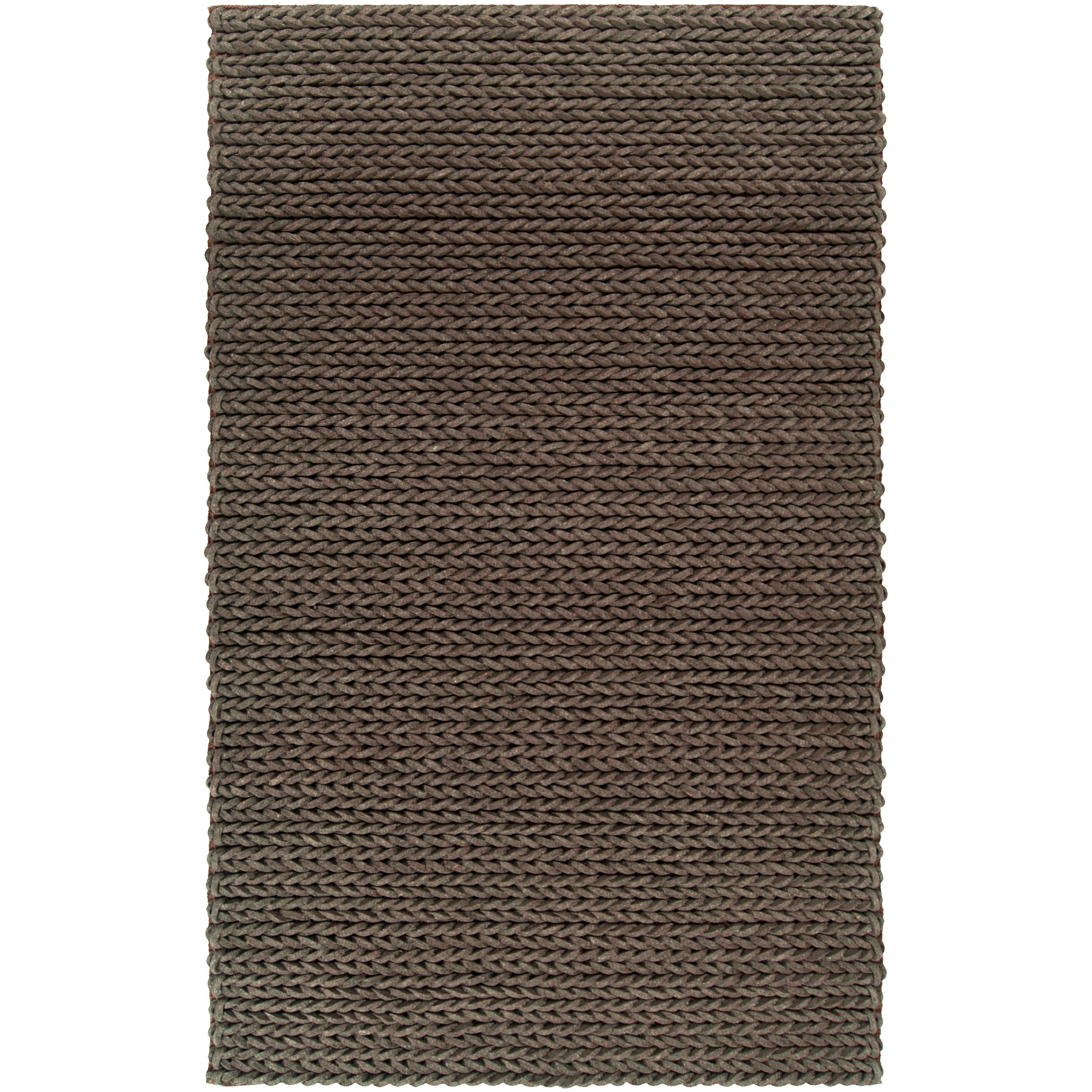 Hand-woven AnconaBraided Texture New Zealand Wool Rug (5' x 8')