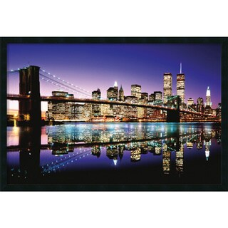 Brooklyn Bridge - Color' Framed Art Print with Gel Coated Finish