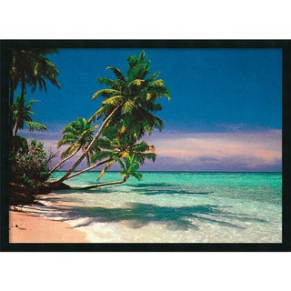 Tropical Beach' Framed Art Print with Gel Coated Finish